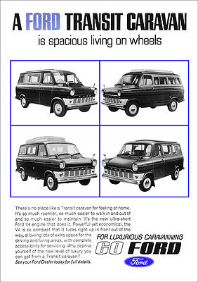 FORD TRANSIT CAMPER RETRO A3 POSTER PRINT FROM 60's ADVERT