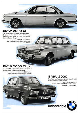 BMW 2000cs 2000Ti lux 2000 RETRO A3 POSTER PRINT FROM CLASSIC 60'S ADVERT