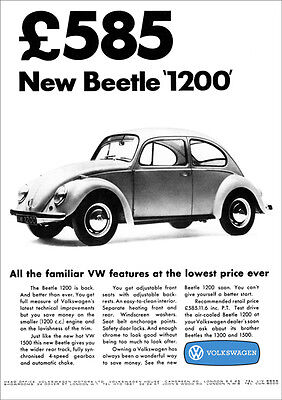 VW BEETLE 1200 RETRO POSTER A3 PRINT FROM CLASSIC 60'S ADVERT
