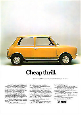 MINI 1275GT RETRO A3 POSTER PRINT FROM CLASSIC 70'S ADVERT
