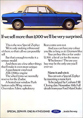 FORD ZEPHYR SPECIAL V6 RETRO A3 POSTER PRINT FROM CLASSIC 70'S ADVERT