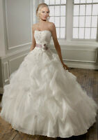 BRAND NEW!!!Strapless Lace and Ribbon Wedding Gown by Mori Lee