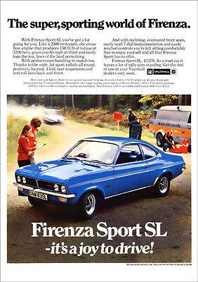 VAUXHALL FIRENZA SPORT SL RETRO A3 POSTER PRINT FROM 70's ADVERT
