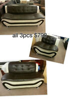 Brand new speedy 3pc leather sofa set with coffee table $798
