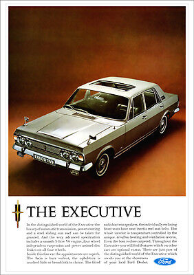 FORD ZODIAC & EXECUTIVE RETRO A3 POSTER PRINT FROM CLASSIC 60'S ADVERT