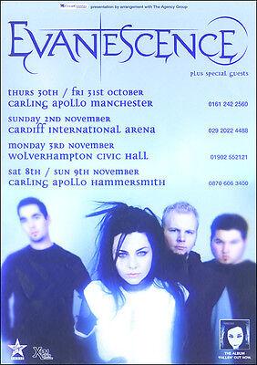 EVANESCENCE UK 2003 Original Concert Poster
