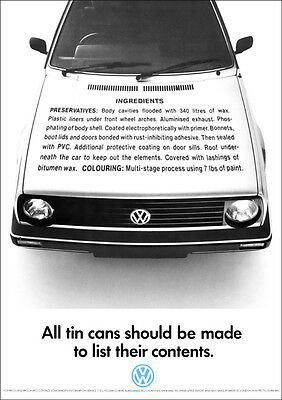 VW GOLF MK2 RETRO POSTER A3 PRINT FROM CLASSIC ADVERT 1988