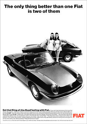 FIAT 850 SPIDER & COUPE RETRO A3 POSTER PRINT FROM CLASSIC 60'S ADVERT 1967