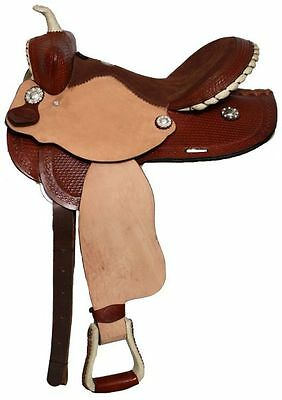Double T Barrel Style Saddle with Basket Weave Tooling 14