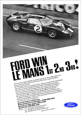FORD GT40 RACER LE MANS RETRO A3 POSTER PRINT FROM CLASSIC 60'S ADVERT