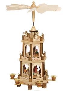 German Christmas Pyramid Nativity Play 3 Tier Carousel 18