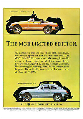MG MGB & MGBGT LIMITED EDITION 1980 RETRO POSTER A3 PRINT FROM CLASSIC ADVERT