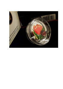 2011 Glass Ladybug with Tulip $20 Fine Silver Coin in Case & COA