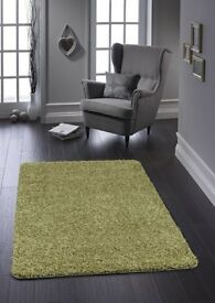 Brand new in package Buddy Stain Resistant Long Soft Pile Rug Olive Green 80 X 120 cms RRP £34.99