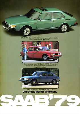 SAAB 900 TURBO & 99 RETRO A3 POSTER PRINT FROM CLASSIC 70'S ADVERT
