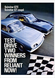 RELIANT SCIMITAR GT COUPE & GTE V6 RETRO POSTER A3 PRINT FROM 60's 70'S ADVERT