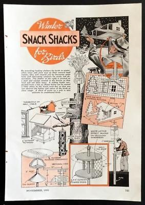 Winter Bird Feeders 1940 How-To build PLANS