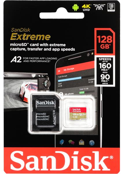 SANDISK Extreme® 128GB microSDXC 160MB/s U3 V30 A2 4k GoPro Actioncam Drohne OVP