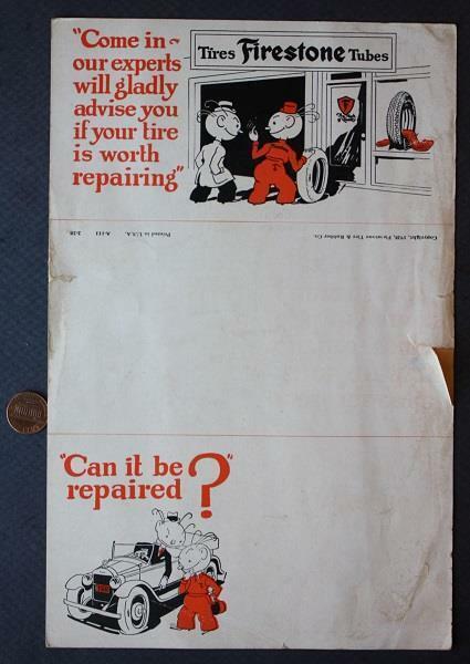 1928 Firestone Tire & Rubber Company Tube Repair sample brochure-VINTAGE COOL!