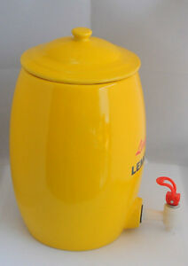 "13""  Yellow LEMONADE LIMONADE DISPENSER JUG CROCK Windsor Region Ontario image 2"