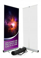 Retractable Roll Up Banner Stand 4Trade Show w Free Print & Case