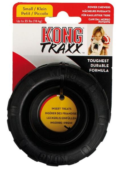 KONG Hundespielzeug Traxx Reifen robust Natur Kautschuk Spielzeug ø 9cm