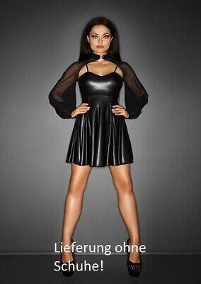 Sexy Mini-Kleid mit Bolero in mattem Wetlook schwarz - 118 Kostüm Für Damen
