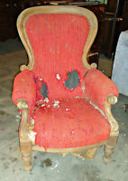 Antique Victorian style chair, a reupholster project (delivery)