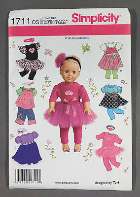 """Simplicity 1711 Pattern to make clothes for American Girl 18"""" dolls - NEW! UNCUT"""