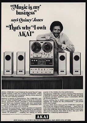1971 QUINCY JONES Producer - AKAI 1730D-SS1 Surround Sound VINTAGE ADVERTISEMENT segunda mano  Embacar hacia Argentina
