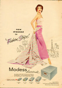 Large 1956 full-page magazine ad for Modess (14 ¾ x 10 ¼ )