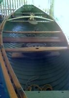 Heritage Chestnut Canvas Canoe/Trailer/outboard engine.