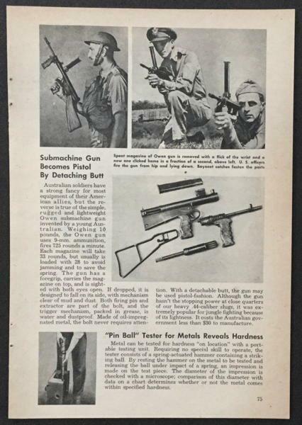 Owen machine carbine 1945 pictorial Australian Submachine Gun