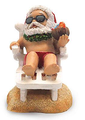 Hawaiian Christmas Ornaments Santa Beach Chair Coconut Water Poly Resin Hawaii N - Hawaiian Christmas Ornaments