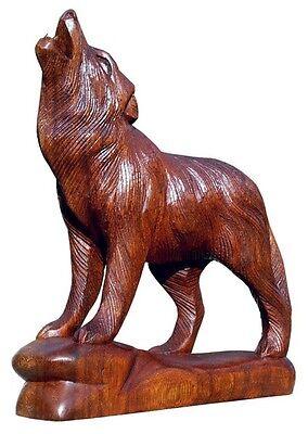 Tolle 17cm Holz Figur WOLF heulend Deko Statue Handarbeit Bali Tier Wulf Wolf20