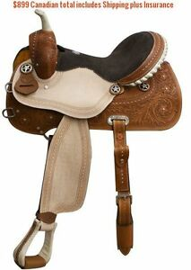 "14"" 15"" 16"" Western Barrel Racing Saddles $747 Leather FULL Bars London Ontario image 7"