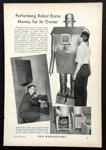 Clarence the Radio Robot – Austin Huhn 1940 pictorial