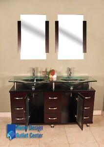 60-Double-Glass-Sink-Modern-Bathroom-Vanity-SET-Espresso-Wood-Cabinet-W-MIrror