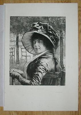 ANTIQUE GORGEOUS FRENCH WOMAN SMILE HAT EDELFELT DANIEL MORDANT ETCHING PRINT