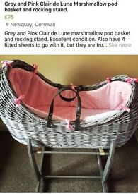 Clair de lume moses basket and rocking stand
