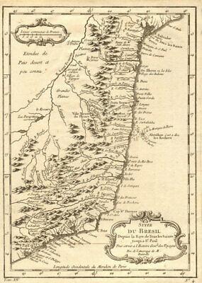 'Suite du Brésil depuis…' Northern Brazil. Salvador-Sao Paolo. BELLIN 1757 map