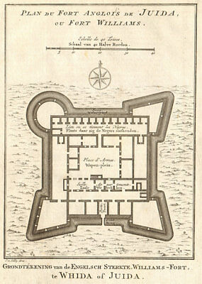 'Fort Anglois de Juida ou Fort Williams'. Ouidah, Benin. BELLIN/SCHLEY 1748 map