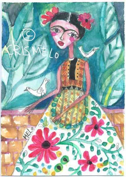 FRIDA KAHLO ACEO Original Painting Mexican WOMAN Portrait Folk ART MeloEarth Nr - $10.50