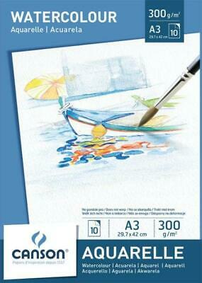 CANSON Aquarellpapier-Block, DIN A3 300 g/qm weiß MALPAPIER ZEICHENPAPIER