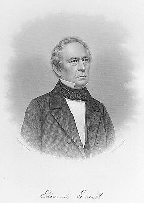 Massachusetts Senator EDWARD EVERETT Harvard University 1877 Art Print Engraving