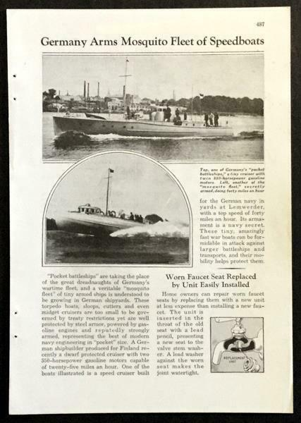 German Motor Torpedo Boats 1936 pictorial Abeking & Rasmussen VMV-class Patrol