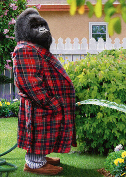 Gorilla Garden Hose Funny Fathers Day Card - Greeting Card by Avanti