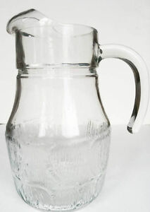 Vintage Embossed Clear Glass  Pitcher with Ice Lip