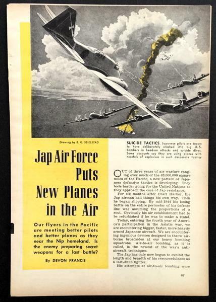 Japanese Air Force 1945 pictorial Fighters Bombers Zeke 32 Jill Liz MYRT B-24