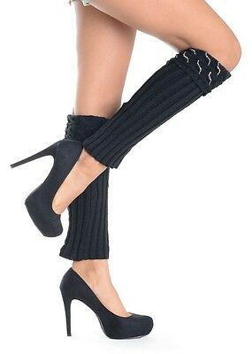 NEW  SEXY BLACK WITH SYMMETRY RHINESTONE LEG WARMER-159LG055